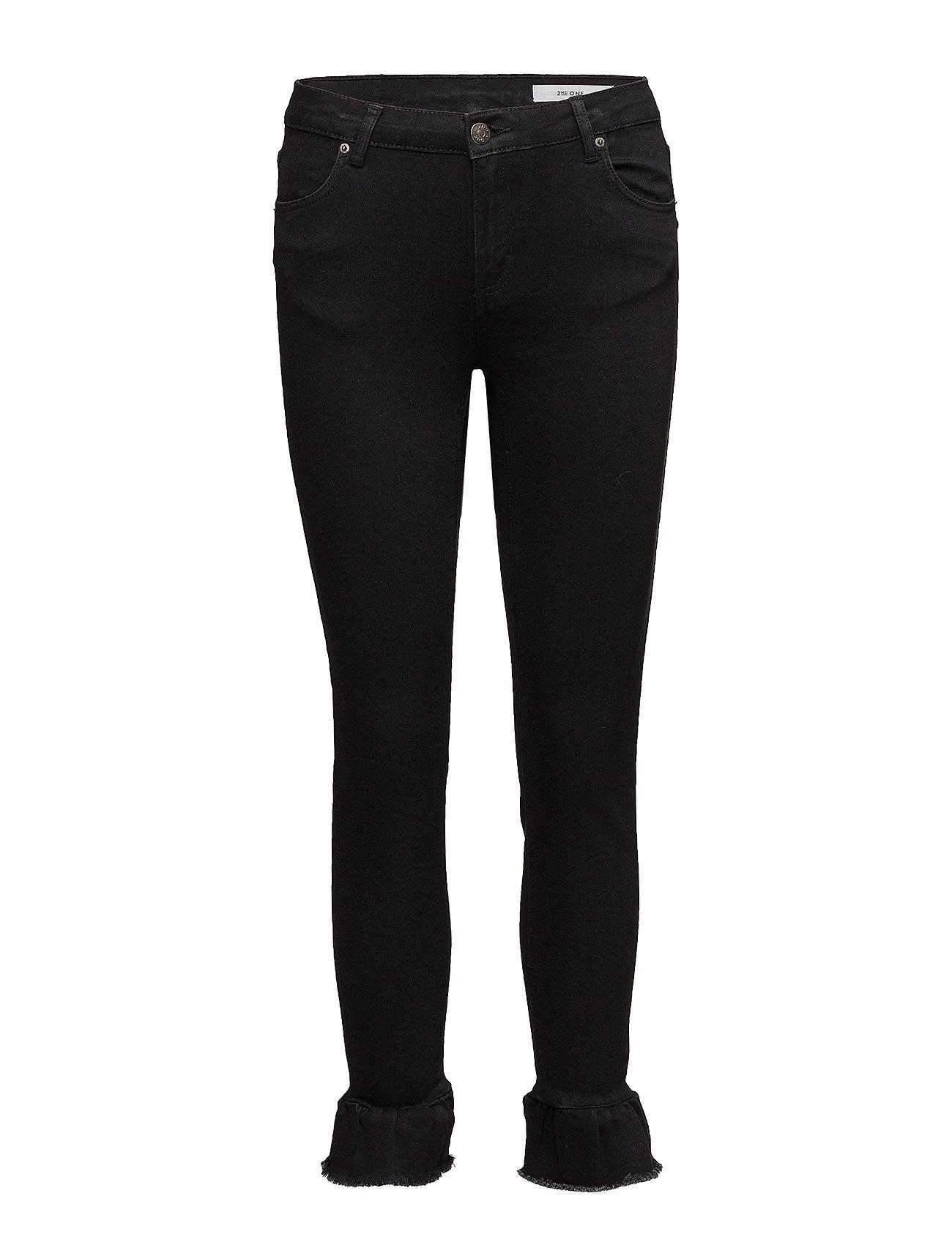 2nd one – Nicole 002 crop, black ruffle, jeans fra boozt.com dk