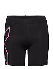 Compression 5 inch Shorts - BLACK/FLURO PINK