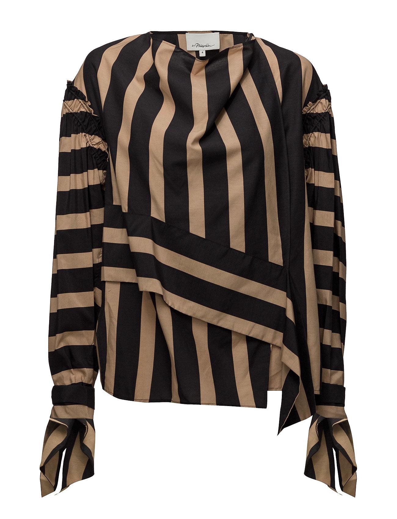 3.1 phillip lim – Ls striped draped neck top fra boozt.com dk