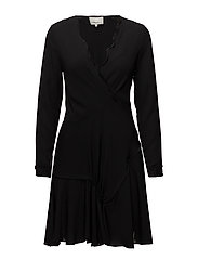 LS RUFFLE DRESS - BLACK