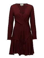 LS RUFFLE DRESS - OX BLOOD