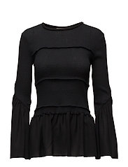 LS Smocked blouse - BLACK