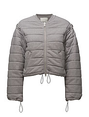 QUILTED BOMBER - GRY MELANGE