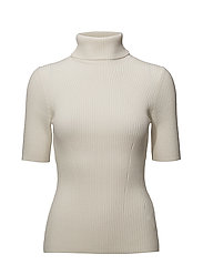 ELBOW LENGTH RIBBED TURTLENECK - WHITE SAND