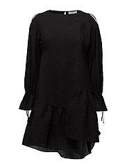 LS DRESS W ASYM RUFFLE HEM - BLACK