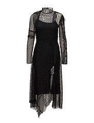 LS LACE PATCHWORK DRESS - BLACK