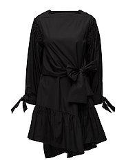 LS DRESS W SL TIE - BLACK