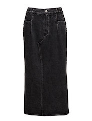 DENIM SKIRT W LACING - BLACK