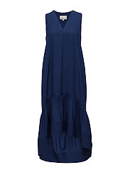 SL DRESS W STITCH DETAIL AT HEM - MARINE