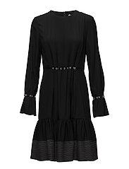 LS PINTUCK DRESS W SILK TIES - BLACK