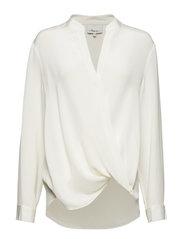 Long sleeved collarless blouse - ANT. WHITE