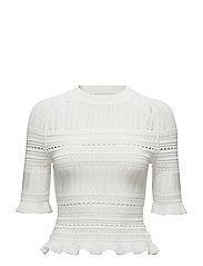 SS COMPACT POINTELLE LACE RAGLAN TEE - ANT. WHITE