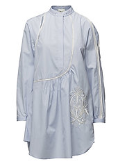 POPLIN VICTORIANA DRESS W CREST EMBR - OXFORD BLUE