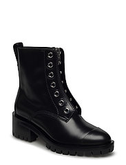HAYETT - LUG SOLE ZIPPER BOOT WITH KNITTED LACE - BLACK