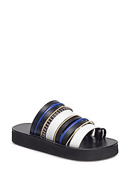 EVA - multi stripe sandal - BLACK-WHITE MULTI