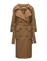 wide neck trench coat - BISCUIT