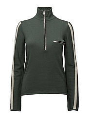 Zipped funnel neck pullover - GREEN