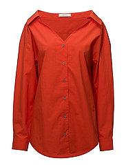 Wide v-neck shirt - RED-ORANGE