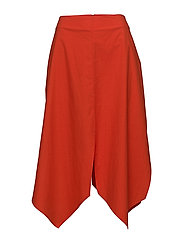 slit midi skirt - RED-ORANGE