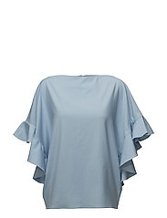 Back buttoned frilled sleeve top - BABY BLUE