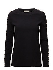 Long sleeve lace up top - BLACK