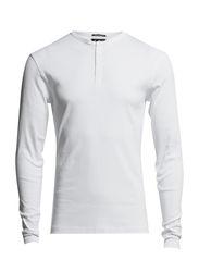 T-SHIRT LS - GRANDAD RIB NECK - White
