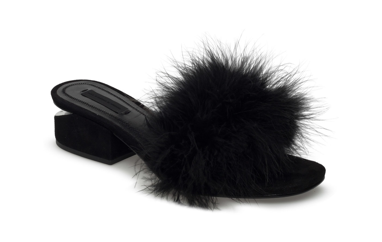 Alexander Wang LOU BLACK MARABOU FEATHER/KID SUEDE/RHODIUM