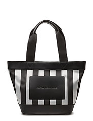 AW SM TOTE BLK STRIPED POLY NYLON W/ BLK VACHETTA - BLACK AND SILVER