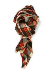 London check scarf - orange