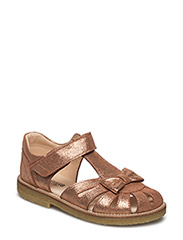 Sandal with a bow, velcro closure - 2423 DARK COPPER GLITTER