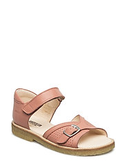 Sandal w. buckle detail and velcro closure - 1436 LIGHT CORAL