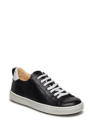 Sneakers w. lace - BLACK/BLACK/WHI