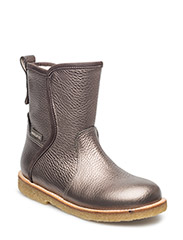 Booties - flat - with zipper - BRONZE/GREYBROWN