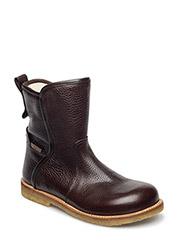 Booties - flat - with zipper - DARK BROWN