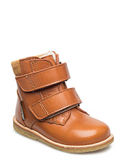Shoes - flat - with velcro - 1803/2161 COGNAC/ CURRY