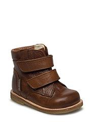 Shoes - flat - with velcro - 2509/2509 MEDIUM BROWN/MEDIUM
