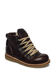 Boots - flat - with lace and zip - 2505/1660/1660 DARK BROWN/D.BR