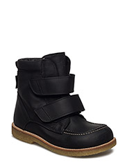 Boots - flat - with velcro - 1652 BLACK