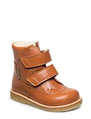 Boots - flat - with velcro - 1803/2415 COGNAC/COGNAC