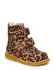 Boots - flat - with velcro - GREY LEO/ROSE