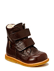 Boots - flat - with velcro - DARK BROWN/DARK BROW