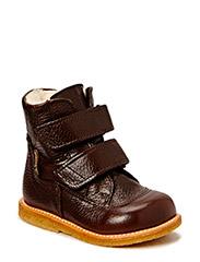 Boots - flat - with velcro - 2505/2505 DARK BROWN/DARK BROW