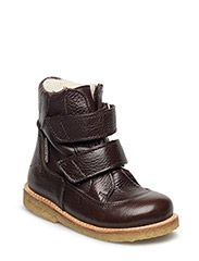 Boots - flat - with velcro - 2505/2505 DARK BROWN/DARK BROWN