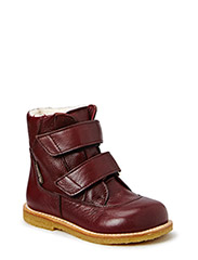Boots - flat - with velcro - BORDEAUX/BORDEAUX