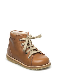 Boots - flat - with laces - COGNAC