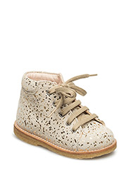 Boots - flat - with laces - 2469 BEIGE W/ GOLD DOTS