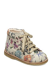 Boots - flat - with laces - 2471 BIRDPRINT