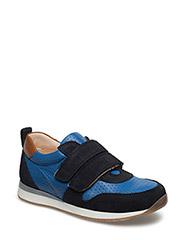 Classic sneakers w. velcro - 1147/1535/2415 NAVY/BLUE/COGNAC