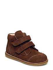Shoes - flat - with velcro - 1166 COGNAC