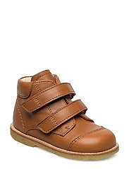Shoes - flat - with velcro - COGNAC
